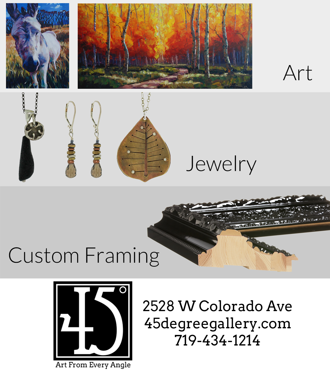 Look for our ad in Colorado Springs Style – 45 Degree Gallery